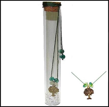 601.2785 - Γούρι Γυάλινο 15cm Με Δέντρο, Κρύσταλλα Και Κορδόνι