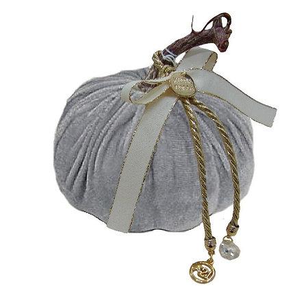 710.023 - Κολοκύθα Βελούδο 12cm Με Μεταλλικά Στοιχεία Κρύσταλλο Και Κορδέλα