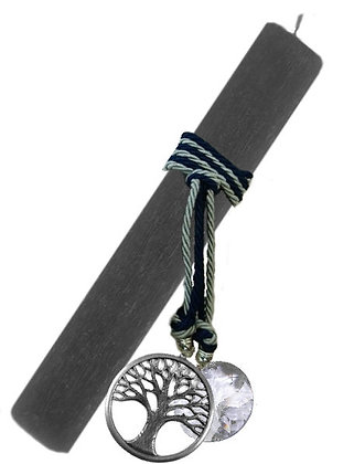 40.3019 - Λαμπάδα Πλακέ Σαγρέ 33cm Με Δέντρο Ζωής Και Κρύσταλλο