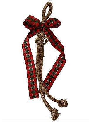 010.2781 - Γούρι 25cm Γιούτα Κορδόνι Με Κλειδί Και Κορδέλα