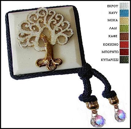 418.3018 - Μαρμαράκι Γούρι 7cm x 7cm, Δέντρο Με Κρύσταλλα, Κορδόνι Και Κρύσταλλα
