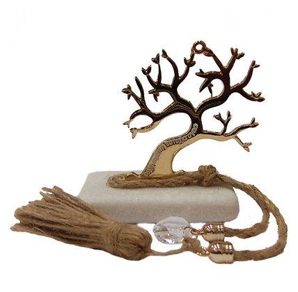 415.3166 - Πέτρα Γούρι 7cm x 5cm, Δέντρο, Κρύσταλλο Και Φούντα