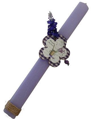 46.0030 - Λαμπάδα Πλακέ Σαγρέ 33cm Με Μαργαρίτα