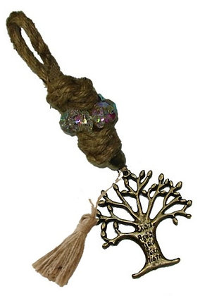 Γούρι 20cm Σε Γιούτα Κορδόνι  Με Κρύσταλλα, Δέντρο Και Φούντα - 111.3011