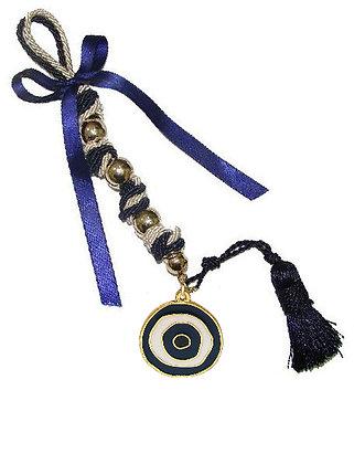 114.3108Ν -Γούρι 35cm Σε Τρίκλωνα Κορδόνια Με Μάτι, Φούντα, Χάντρες Και Κορδέλα