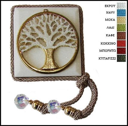 418.3019 - Μαρμαράκι Γούρι 7cm x 7cm, Δέντρο Με Κρύσταλλα, Κορδόνι Και Κρύσταλλα