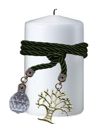 808.3011 - Κερί Κύλινδρος 9cm x 15cm  Με Κρύσταλλο Και Δέντρο Ζωής