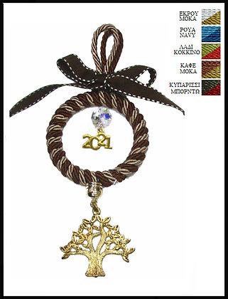 052.3012 - Γούρι 15cm Σε Κρίκο 7cm Με Τρίκλωνο Κορδόνι, Δέντρο, Κρύσταλλο