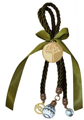 031.3103 - Γούρι 25cm Τρίκλωνο Κορδόνι Με Δέντρο Ζωής Και Κρύσταλλο
