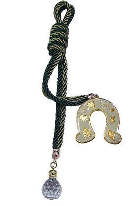 042C.3180 - Γούρι 40cm Σε Τρίκλωνα Κορδόνια, Πέταλο Και Κρύσταλλο Μπάλα