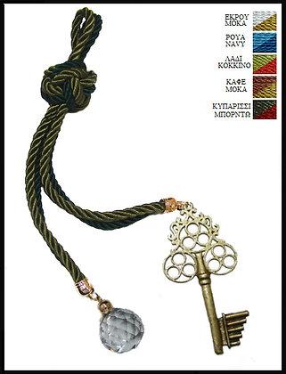 180C.3047 - Γούρι 35cm Σε Τρίκλωνα Κορδόνια Με Κλειδί Και Κρύσταλλο