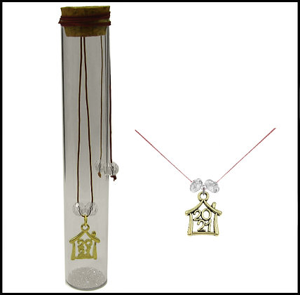 601.3169 - Γούρι Γυάλινο 15cm Με Σπίτι, Κρύσταλλα Και Κορδόνι