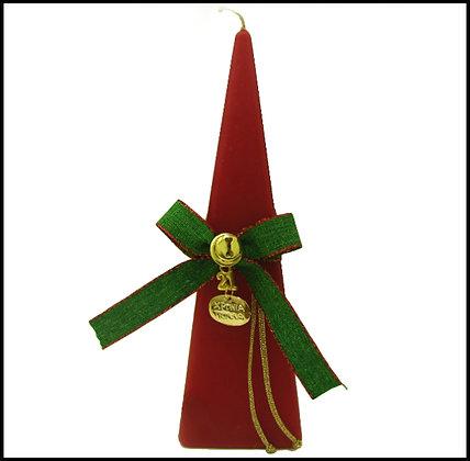 869.3204 - Κερί Πυραμίδα 20cm x 6cm Με Καλή Χρονιά, Κουδουνάκι Και Κορδέλα