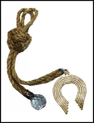 180C.3042Y - Γούρι 35cm Σε Γιούτα Κορδόνια Με Πέταλο Και Κρύσταλλο