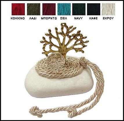 405.3011 - Πέτρα Γούρι Ακανόνιστη 7-10cm, Δέντρο Σε Κορδόνι Και Κρύσταλλο