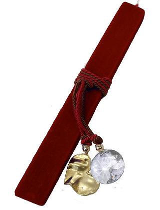 40.0536 - Λαμπάδα Πλακέ Σαγρέ 33cm Με Καρδιά Και Κρύσταλλο