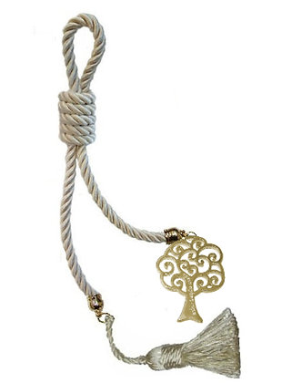 040F.3161 - Γούρι 40cm Σε Τρίκλωνο Κορδόνι, Δέντρο Ζωής Και Φούντα