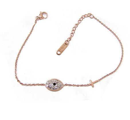 SB.120 - Ατσάλινο Βραχιόλι Μάτι Με Κρύσταλλα