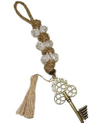100.3047 - Γούρι 35cm Σε Γιούτα Κορδόνι  Με Κρύσταλλα, Κλειδί Και Φούντα