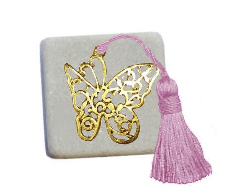 400.2950 - Διακοσμητική Πέτρα 5cm x 5cm, Πεταλούδα Με Φούντα