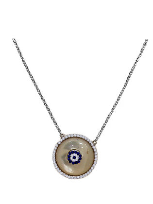 SN.142 - Ατσάλινο Κολιέ Μάτι Σε Φίλντισι Με Κρύσταλλα