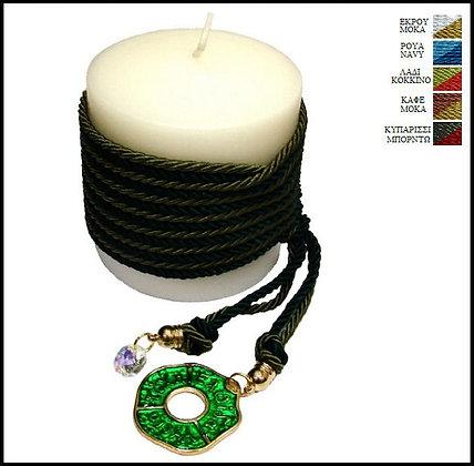857.3010Α - Κερί 9cm x 9cm Με Ευχές, Κρύσταλλο Και Κορδόνια