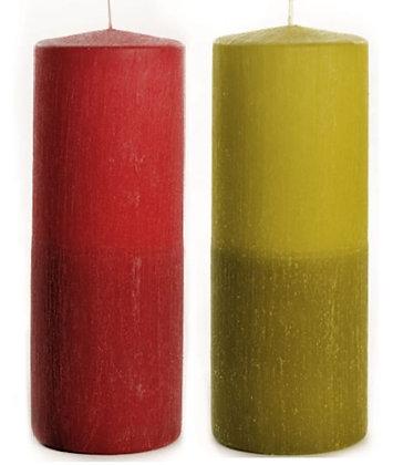 WCD.0720 - Κερί Κύλινδρος Δίχρωμο 7cm x 20cm.