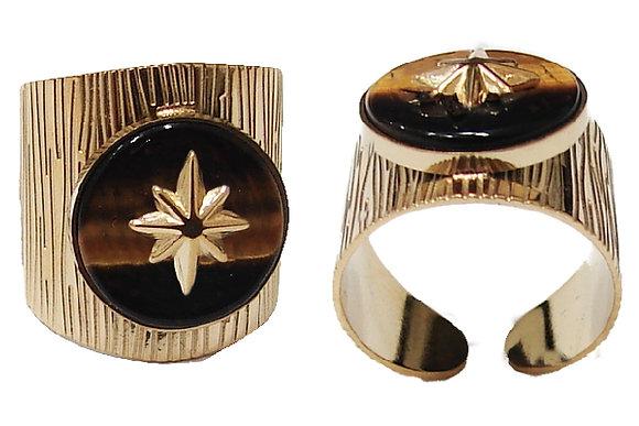 Ατσάλινο Δαχτυλίδι Άστρο Σε Ημιπολύτιμη Πέτρα Μάτι Τίγρης - SR.110