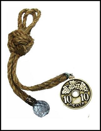 180C.1690Y - Γούρι 35cm Σε Γιούτα Κορδόνια Με Δεκάρα Και Κρύσταλλο
