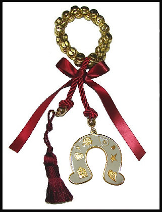 200.3180 - Γούρι 40cm Σε Τρίκλωνο Κορδόνι, Στεφάνι Κουδουνάκια, Πέταλο