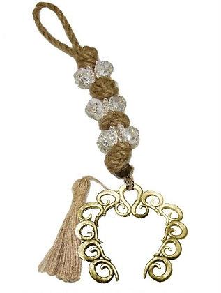 100.3038 - Γούρι 35cm Σε Γιούτα Κορδόνι  Με Κρύσταλλα, Πέταλο Και Φούντα