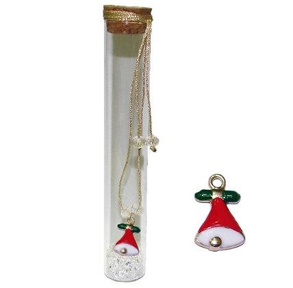 601.3143 - Γούρι Γυάλινο 15cm Με Καμπανούλα, Κρύσταλλα Και Κορδόνι