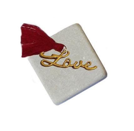 400.0502 - Διακοσμητική Πέτρα Με Μεταλλικό Love Και Φούντα