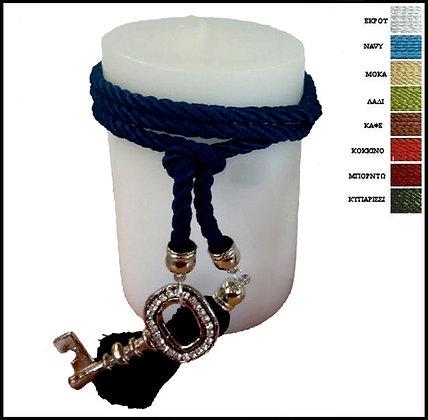 855.3076 - Κερί 14cm x 9cm Με Κλειδί, Φούντα Και Κορδόνι