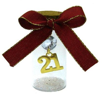 602.3200 - Γούρι Γυάλινο 8cm Με Χρονολογία, Κρύσταλλα Και Κορδέλα