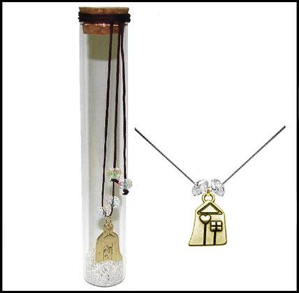 601.2869 - Γούρι Γυάλινο 15cm Με Σπίτι, Κρύσταλλα Και Κορδόνι