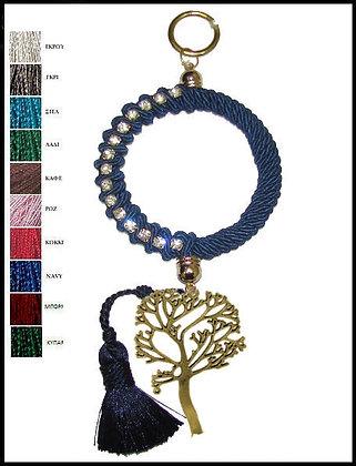 053F.3102 - Γούρι 25cm Σε Κρίκο 10cm Με Τρίκλωνο Κορδόνι, Δέντρο Και Φούντα