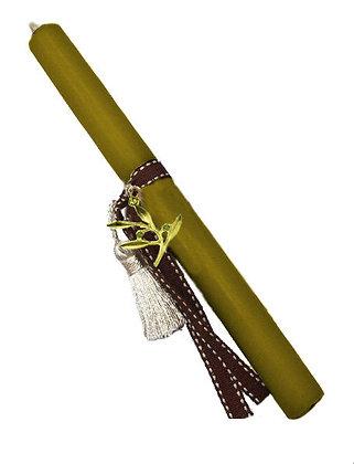 22.2187 - Λαμπαδάκι Στρογγυλό Με Mεταλλικό Κλαδάκι Ελιάς 22cm