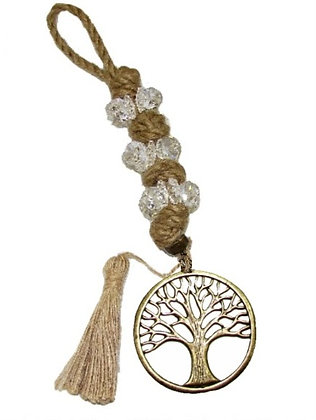 100.3019 - Γούρι 35cm Σε Γιούτα Κορδόνι  Με Κρύσταλλα, Δέντρο Και Φούντα
