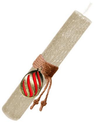 48.3025 - Λαμπάδα Στρογγυλή Σαγρέ Με Αυγό Σμάλτο  22cm