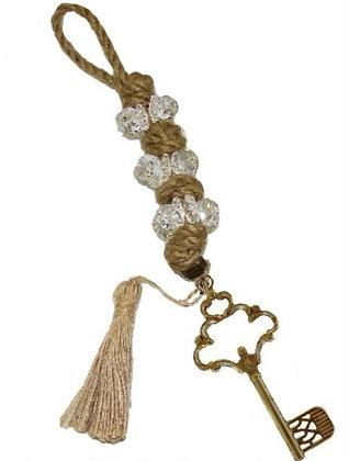 100.2642 - Γούρι 35cm Σε Γιούτα Κορδόνι  Με Κρύσταλλα, Κλειδί Και Φούντα