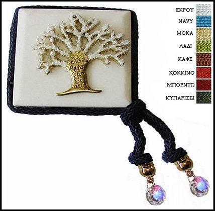 418.3011 - Μαρμαράκι Γούρι 7cm x 7cm, Δέντρο Με Κρύσταλλα, Κορδόνι Και Κρύσταλλα