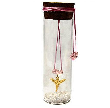 600.2152 - Γυάλινος Σωλήνας 13cm Με Νεράιδα, Κρύσταλλα Και Κορδόνι
