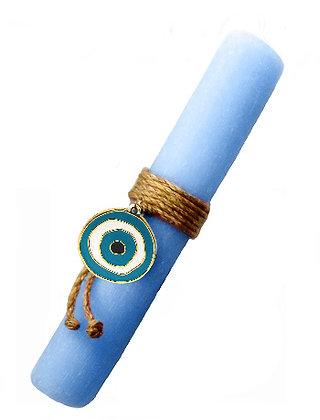 48.3108S - Λαμπάδα Στρογγυλή Σαγρέ Με Μάτι Σμάλτο  22cm