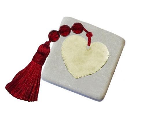 401.0500 - Διακοσμητική Πέτρα Με Καρδιά Και Φούντα