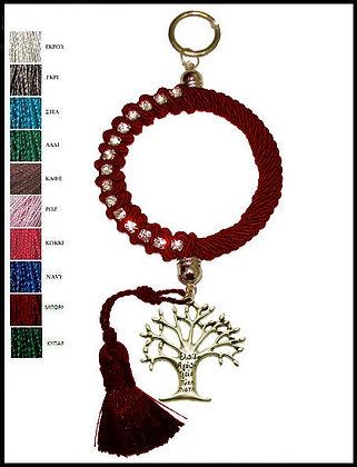 053F.3011 - Γούρι 25cm Σε Κρίκο 10cm Με Τρίκλωνο Κορδόνι, Δέντρο Και Φούντα