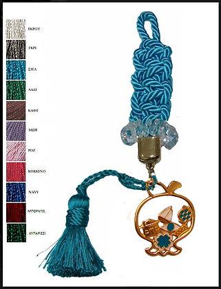 152.3154 - Γούρι 30cm Σε Τρίκλωνο Κορδόνι Macrame, Ρόδι, Κρύσταλλα Και Φούντα