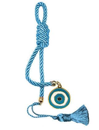 040F.3101 - Γούρι 40cm Σε Τρίκλωνο Κορδόνι, Μάτι Και Φούντα