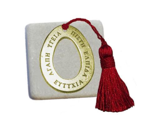 400.3056 - Διακοσμητική Πέτρα 5cm x 5cm, Αυγό Με Φούντα