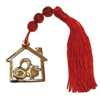 019Β.3176 - Γούρι 11cm Σπίτι Και Φούντα Με Γυάλινες Χάντρες